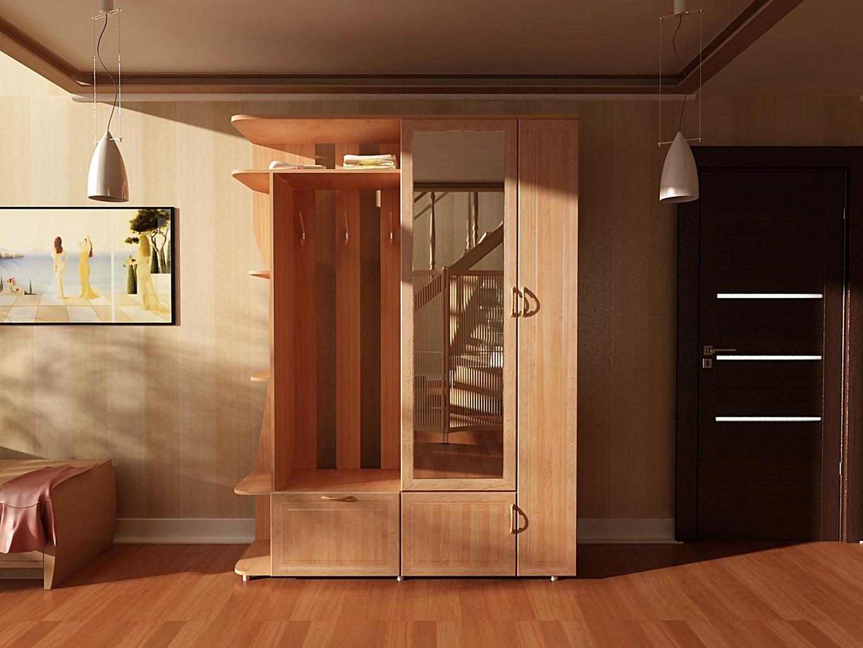Шкафчик-вешалка для прихожей комнаты, внизу есть полочки для обуви